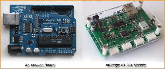 Arduino with ioBridge IO-204 from hackandmod.com