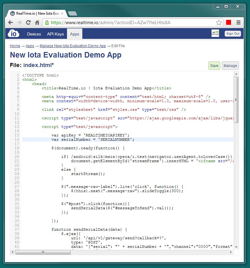 RealTime.io App Editor