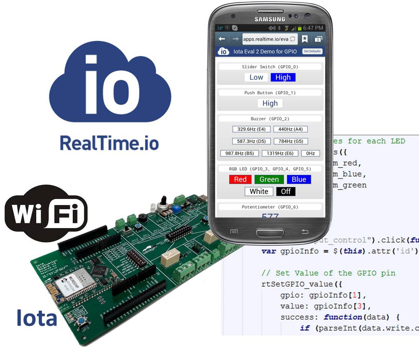 RealTime.io with Android App and Iota Module and Eval Board